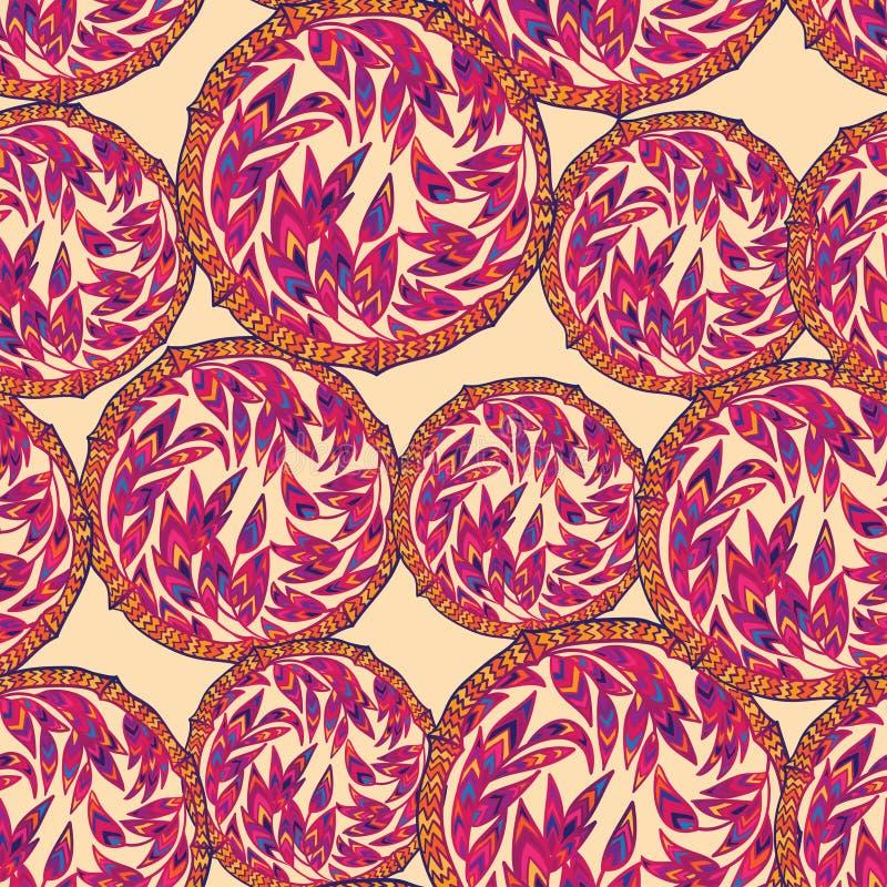 Флористическая этническая декоративная безшовная картина с элементами круга и бамбуковыми лист иллюстрация вектора