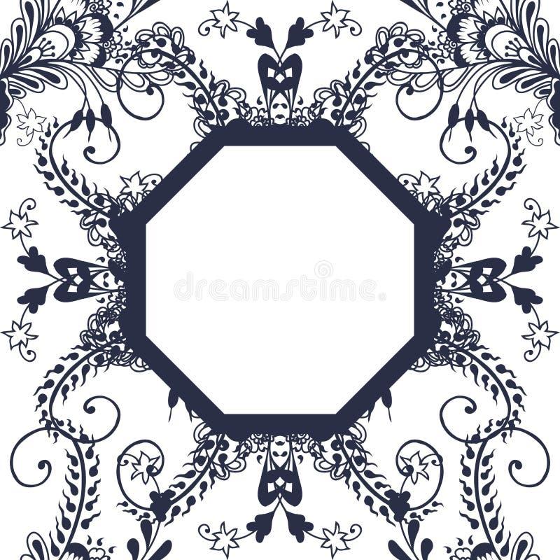 Флористические безшовные картина и рамка иллюстрация вектора
