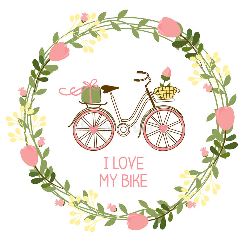 Флористические венок и велосипед