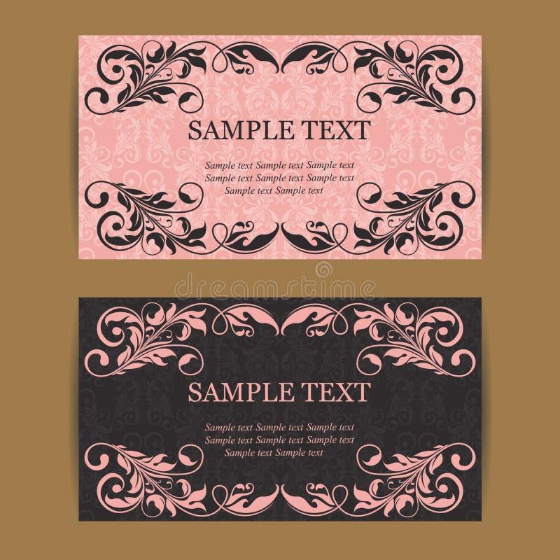 Флористические винтажные визитные карточки иллюстрация вектора