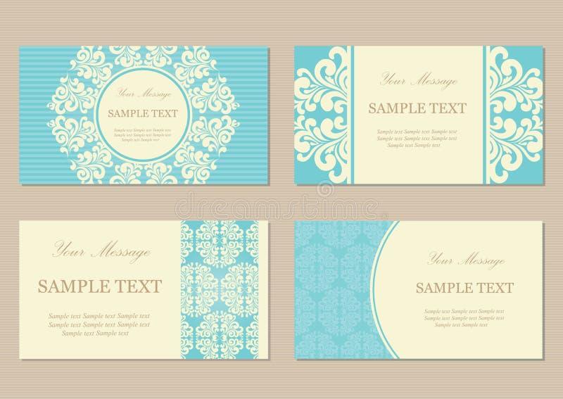 Флористические винтажные карточки дела или приглашения бесплатная иллюстрация