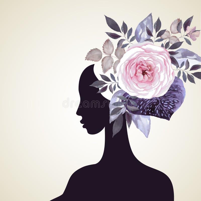Флористические волосы иллюстрация штока