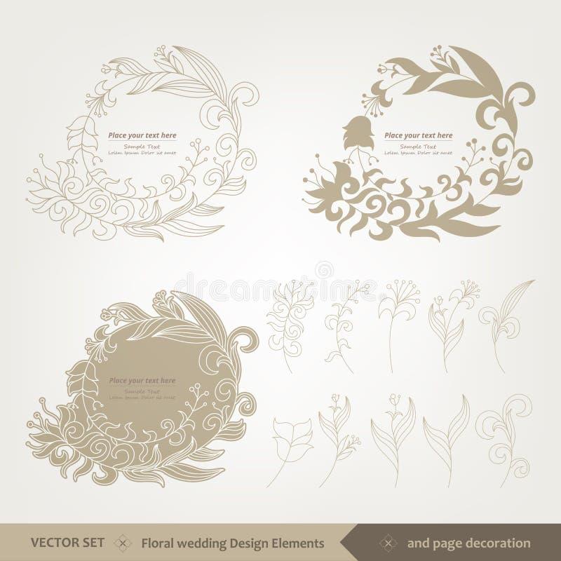 Флористические дизайн и элементы свадьбы стоковые изображения rf