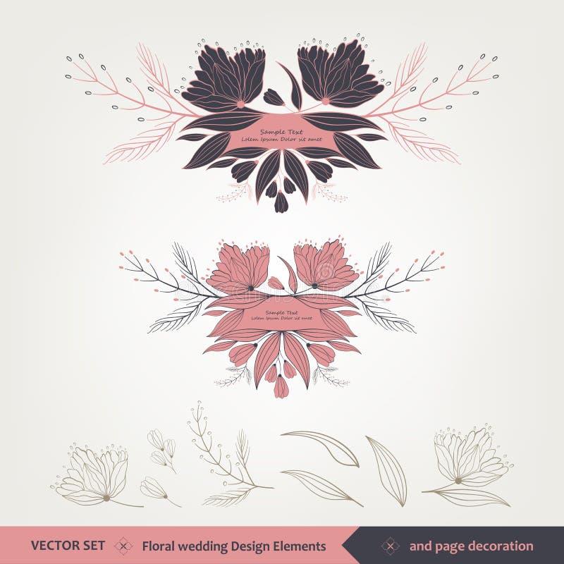 Флористические дизайн и элементы свадьбы стоковое изображение