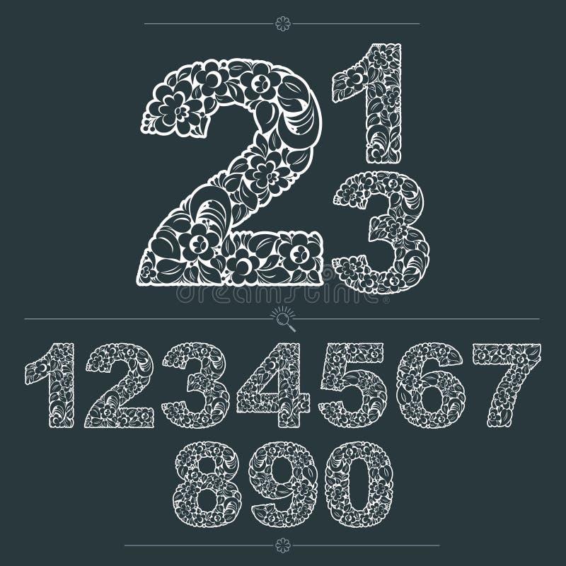 Флористические номера нарисованные используя абстрактную винтажную картину, leav весны бесплатная иллюстрация