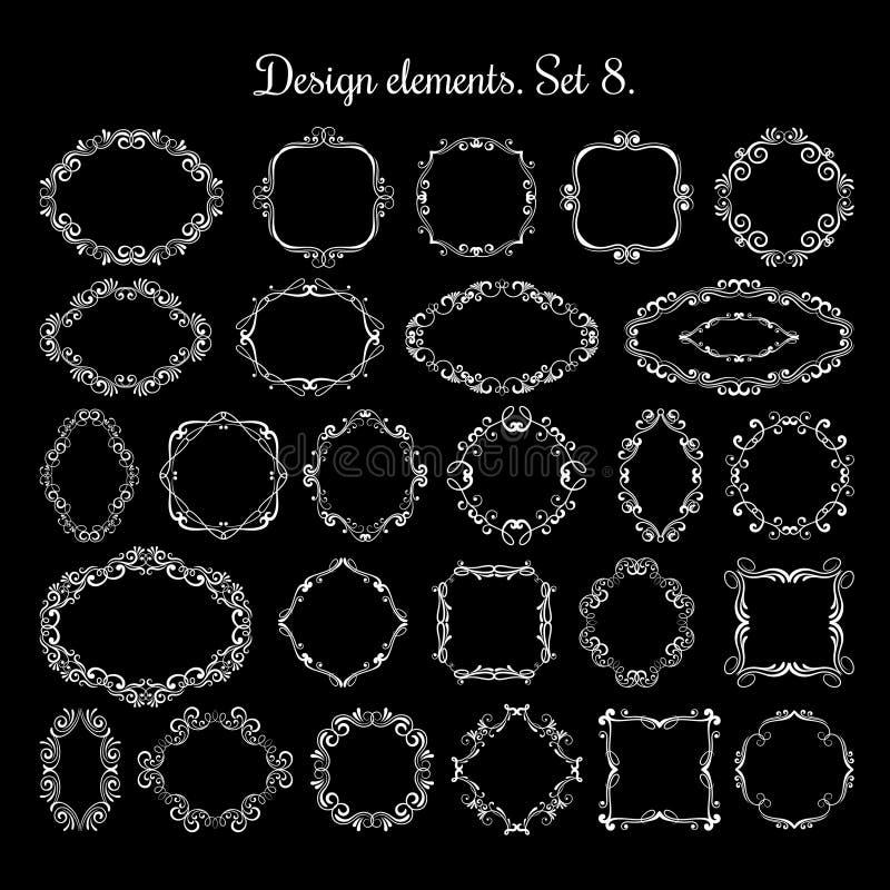 Флористические овальные и круглые викторианские рамки Границы виньетки эффектной демонстрации вектора иллюстрация вектора