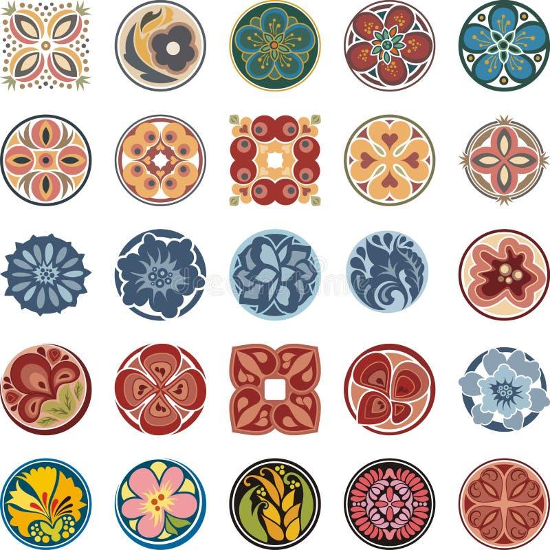 Флористические орнаментальные установленные дизайны круга иллюстрация штока