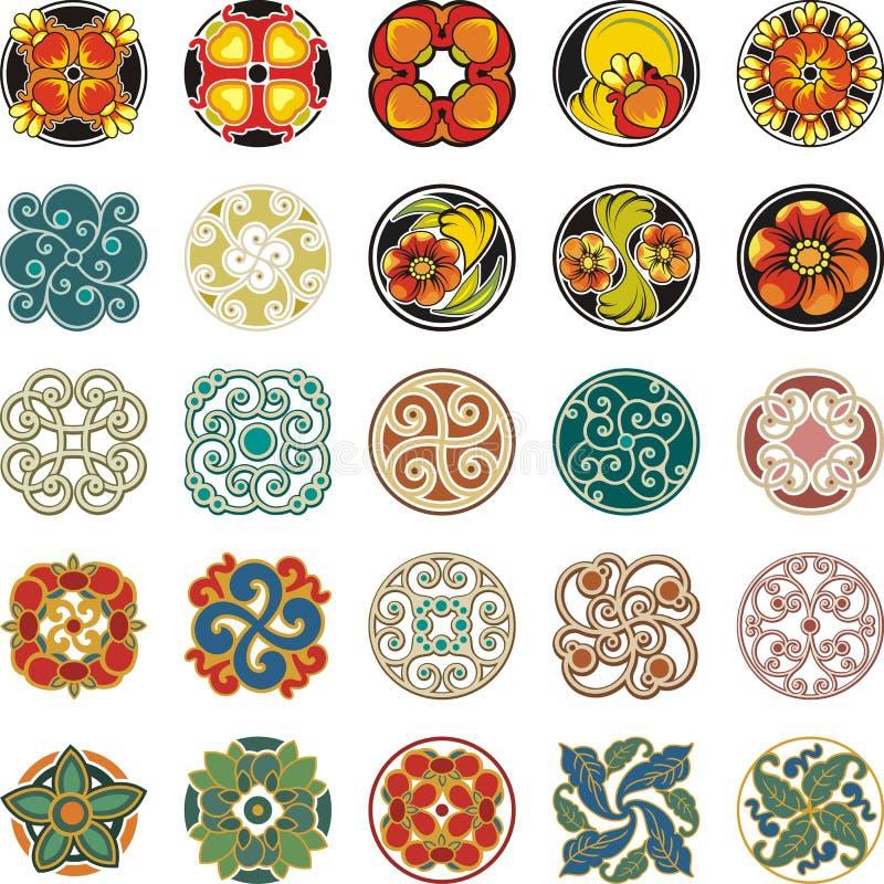 Download Флористические орнаментальные установленные дизайны круга Иллюстрация штока - иллюстрации: 44998736