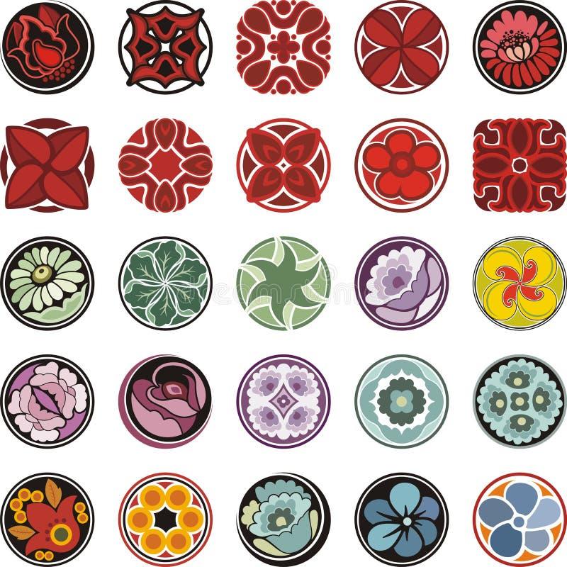 Download Флористические орнаментальные установленные дизайны круга Иллюстрация штока - иллюстрации: 44998737