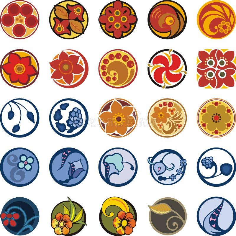 Download Флористические орнаментальные установленные дизайны круга Иллюстрация штока - изображение: 44998743
