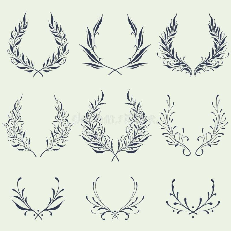 Флористические орнаменты венка иллюстрация штока