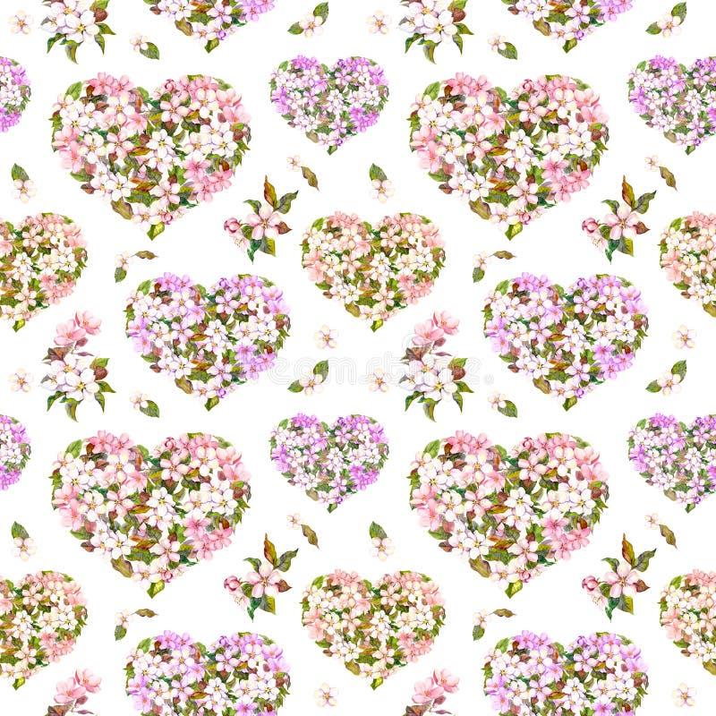 Флористические сердца, яблоко и цветки Сакуры - вишневый цвет безшовная картина на день валентинки Винтажная акварель стоковые фотографии rf