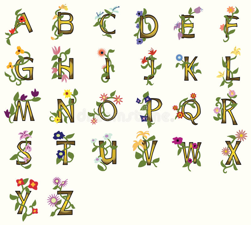 Флористические шрифты бесплатная иллюстрация