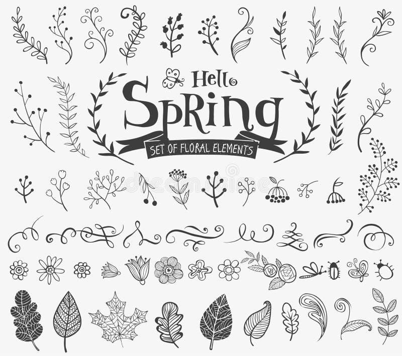 Флористические элементы дизайна весны в стиле doodle иллюстрация штока