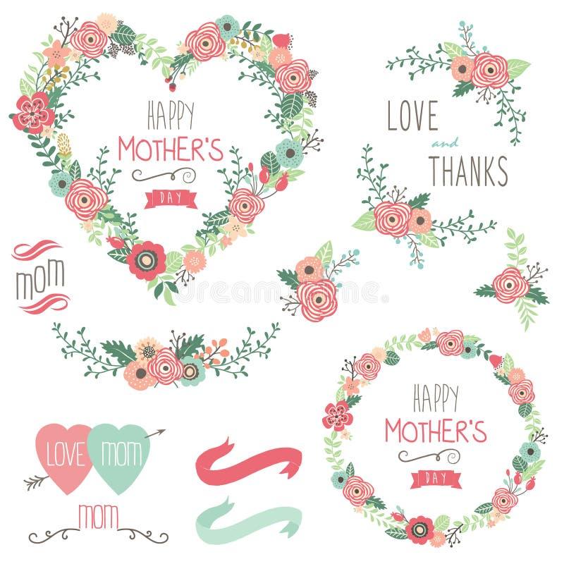 Флористические элементы дня ` s матери сердца иллюстрация вектора