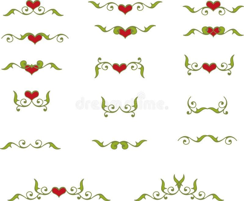 Флористические элементы сердца иллюстрация штока