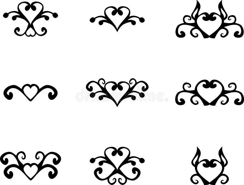 Флористические элементы сердца иллюстрация вектора