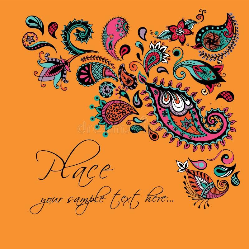 Флористический дизайн карточки, элементы doodle Приглашение вектора декоративное иллюстрация вектора