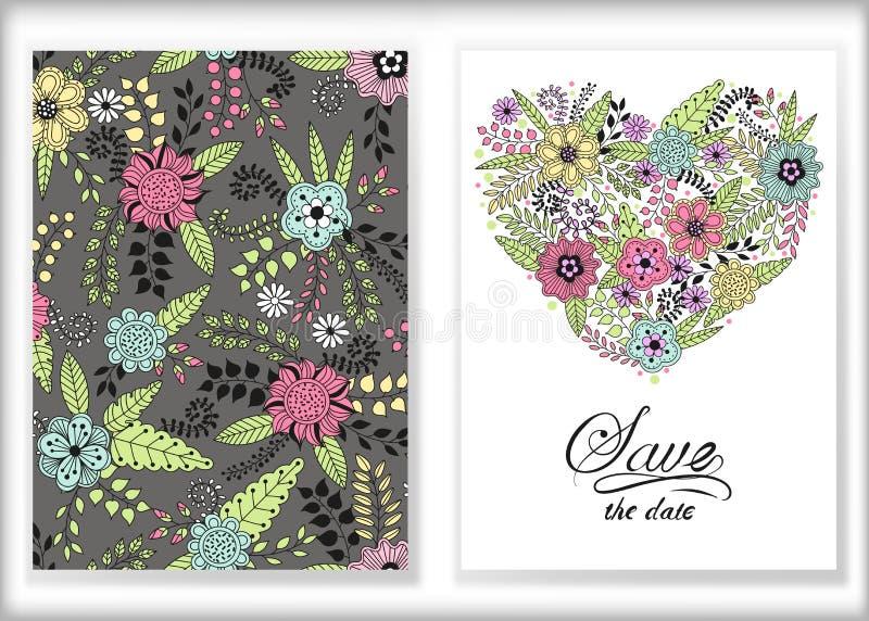 Флористический дизайн, цветки и лист карточки doodle элементы мило иллюстрация вектора