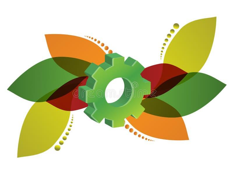 Флористический дизайн шестерни иллюстрация вектора