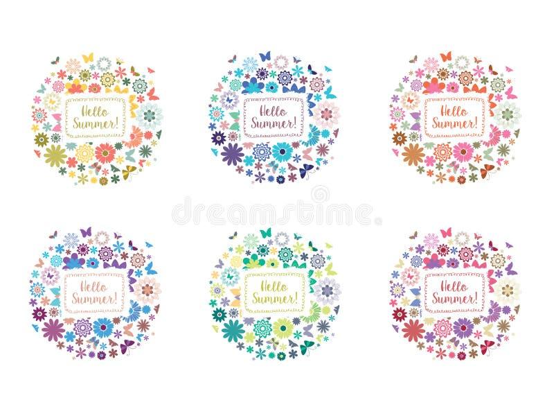 Флористический комплект знамени лета Абстрактные рамки цветка с бабочками иллюстрация штока