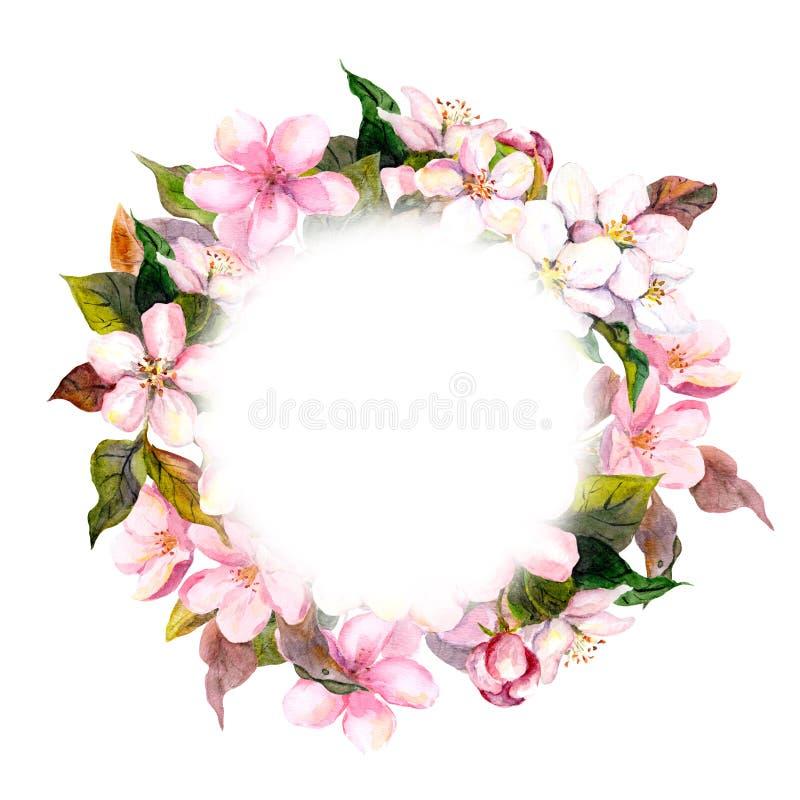 Флористический круглый венок - розовые цветки, яблоко, вишневый цвет для открытки Aquarelle иллюстрация вектора