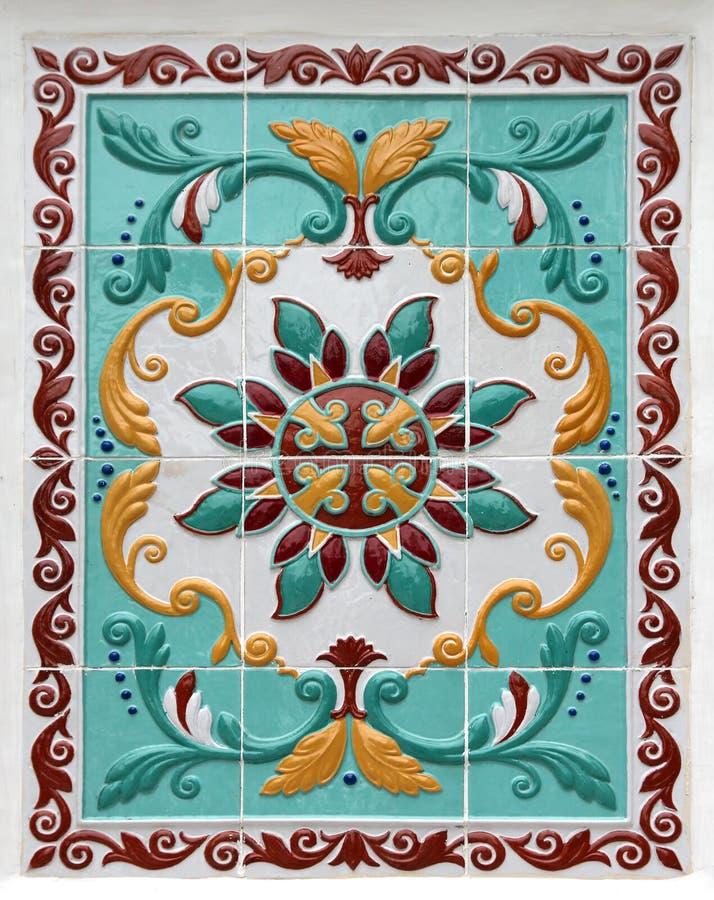 Флористический орнамент на плитках стоковые изображения rf
