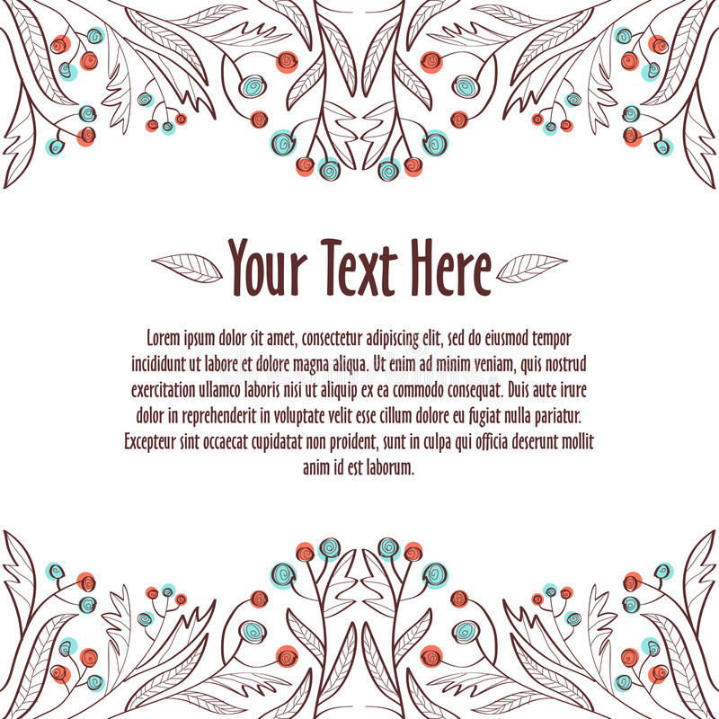 флористический орнамент Шаблон для приглашения или открытки стоковое фото rf