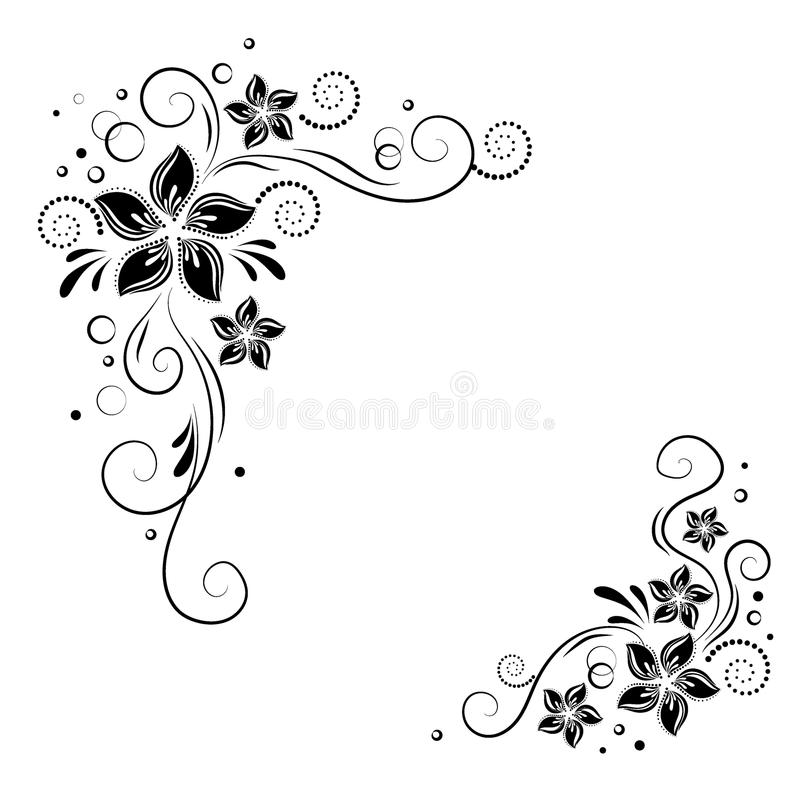 Флористический угловой дизайн Орнаментируйте черные цветки на белой предпосылке - vector запас Декоративная граница с цветистыми  иллюстрация вектора