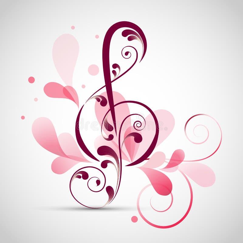 Флористический украшенный музыкальный знак иллюстрация вектора