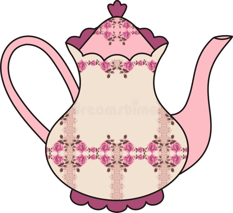 Флористический чайник роз (время для чая). Затрапезный шик. иллюстрация штока