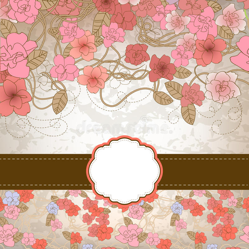 Флористический шаблон карточки иллюстрация штока