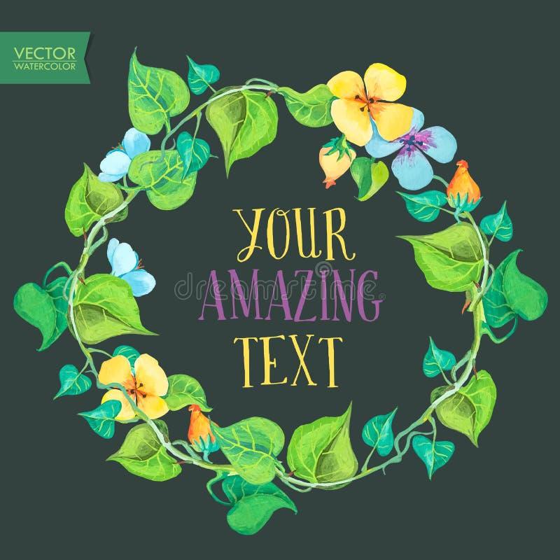 Флористический шаблон поздравительной открытки с красочным летом цветет венок бесплатная иллюстрация