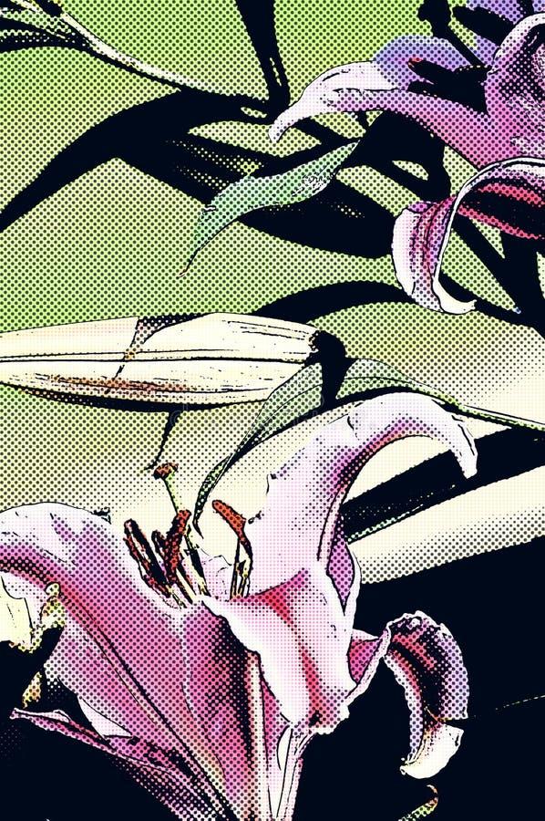Флористическое лилии наблюдателя звезды художническое абстрактное иллюстрация вектора