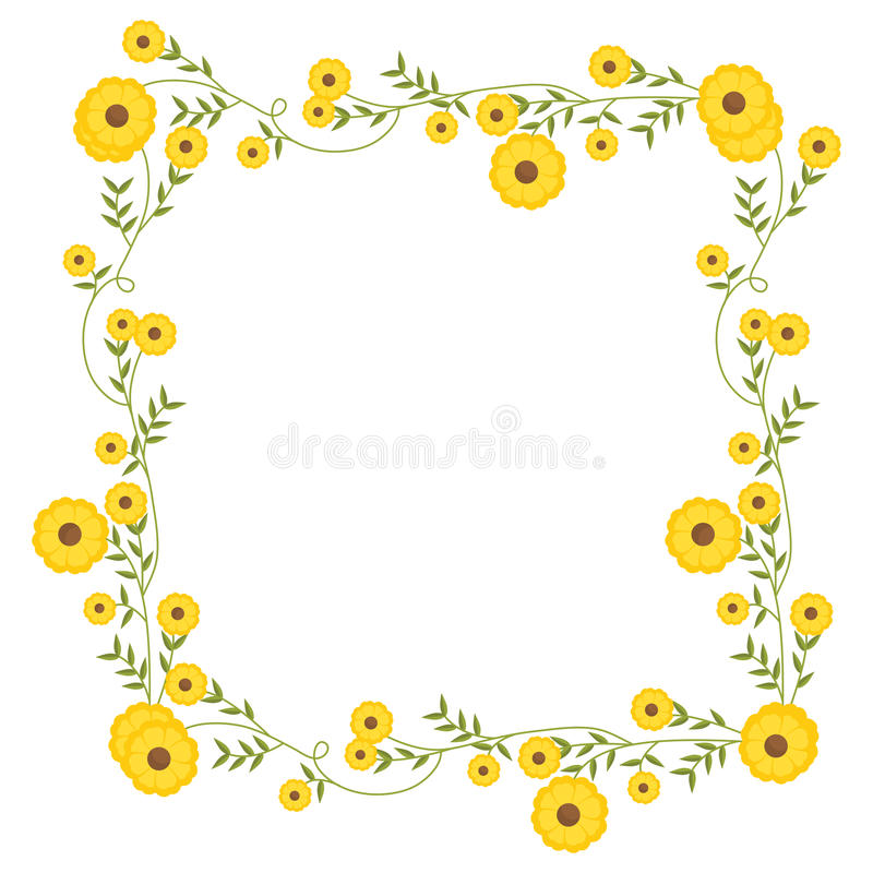 Флористическое квадратное украшение венка с желтыми цветками бесплатная иллюстрация
