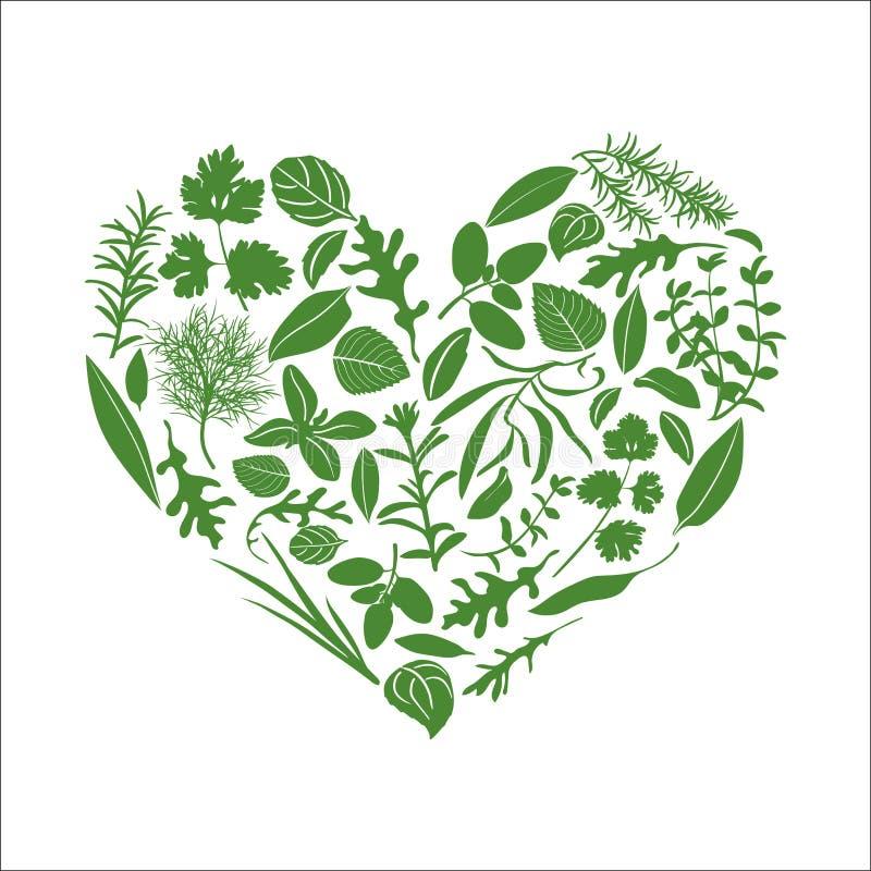 Флористическое сердце сделанное из трав иллюстрация штока