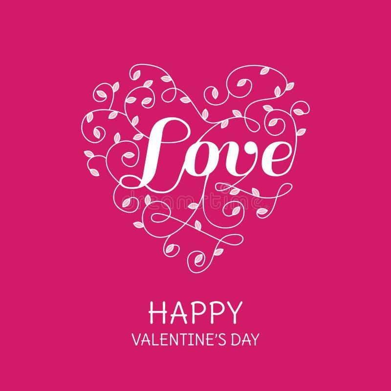 Флористическое сердце с словом влюбленности иллюстрация вектора