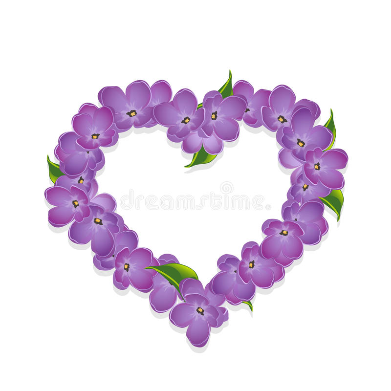 Флористическое сердце с цветками сирени иллюстрация вектора