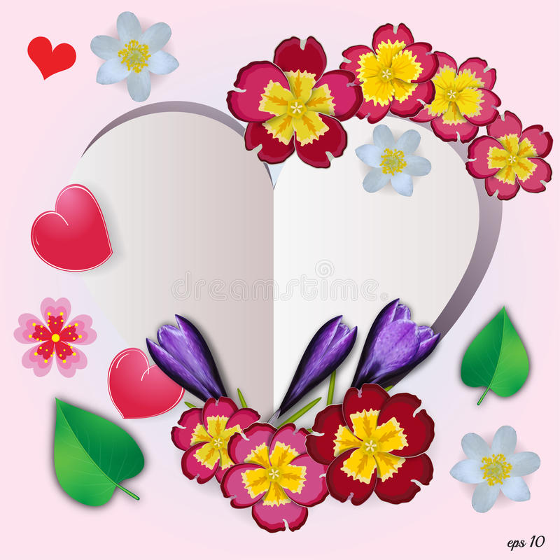 Флористическое сердце с цветками, травами и листьями иллюстрация штока