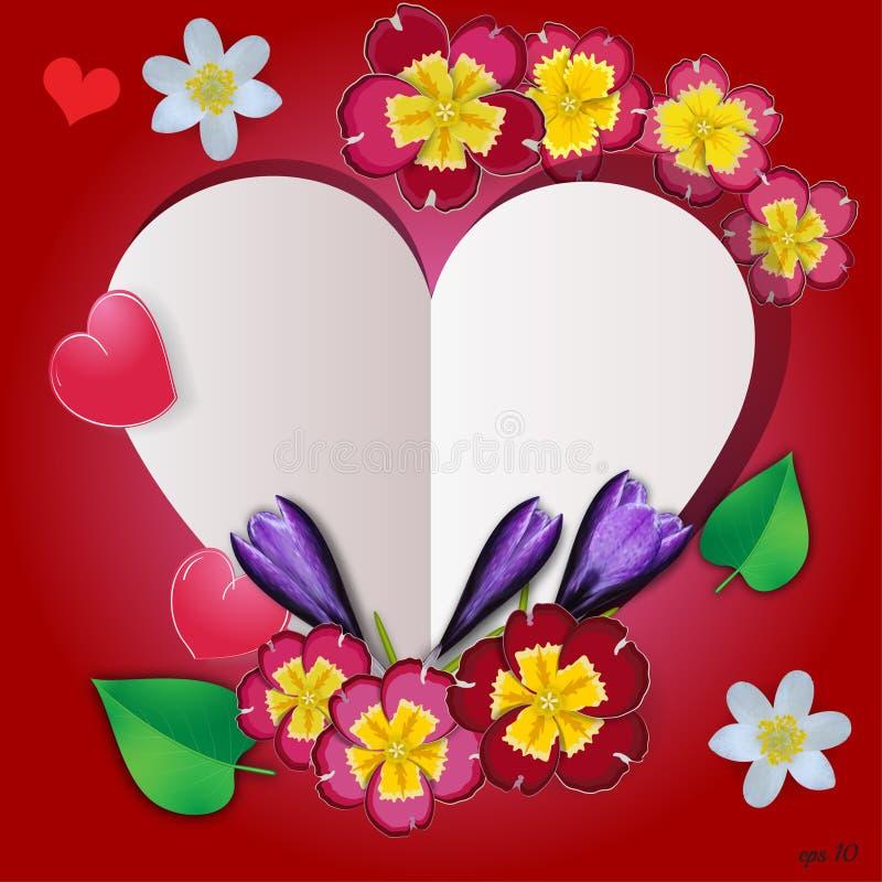 Флористическое сердце с цветками, травами и листьями бесплатная иллюстрация
