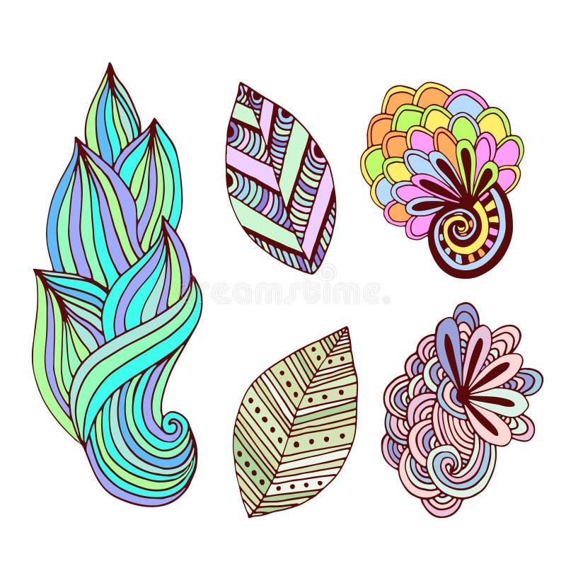 Флористическое собрание в стиле zentangle Нарисованный рукой комплект вектора с творческими цветками и листьями doodle Для крася  иллюстрация вектора