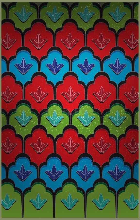 Флористическое цветное стекло иллюстрация штока