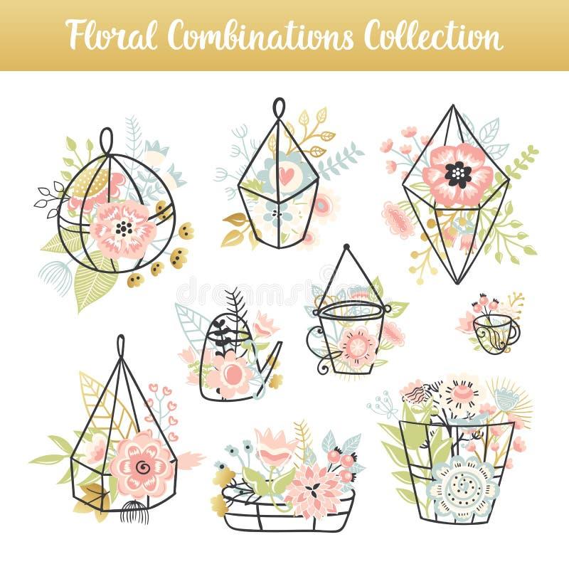 Флористической комплект года сбора винограда комбинаций нарисованный рукой бесплатная иллюстрация
