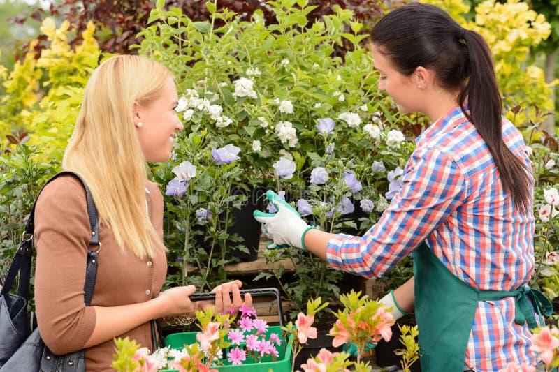 Флорист дает совет к заводам женщины клиента стоковые фото