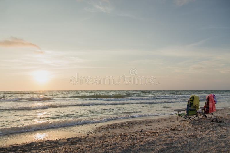 Флорида, заход солнца Clearwater стоковое изображение