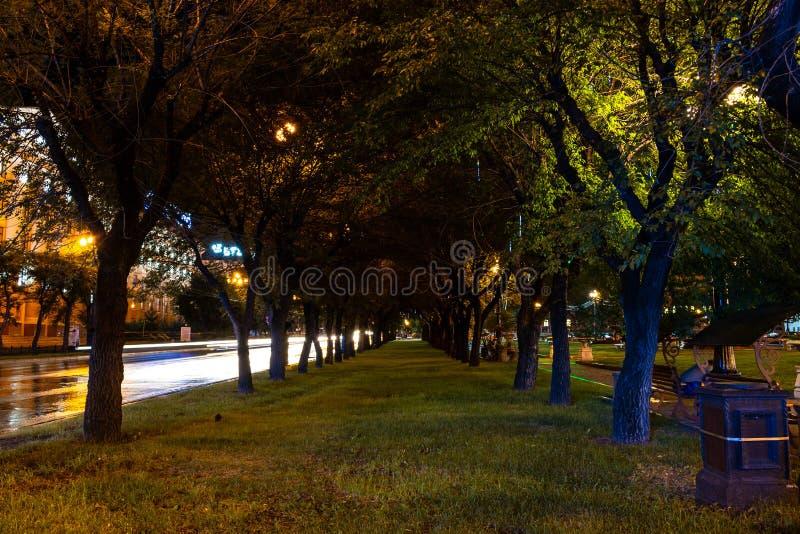 Хабаровск, Россия - 13-ое августа 2018: Квадрат Ленина на ноче под светом фонариков стоковая фотография