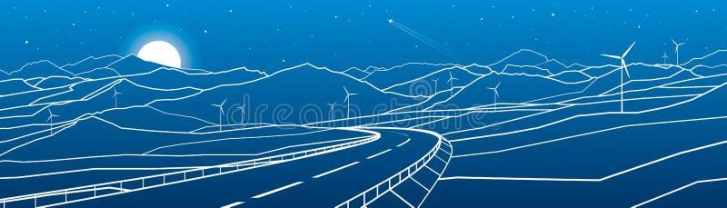 Хайвей в горах Заход солнца за утесами город освещает место ночи Белые линии на голубой предпосылке Сила ветрянок Искусство дизай иллюстрация вектора