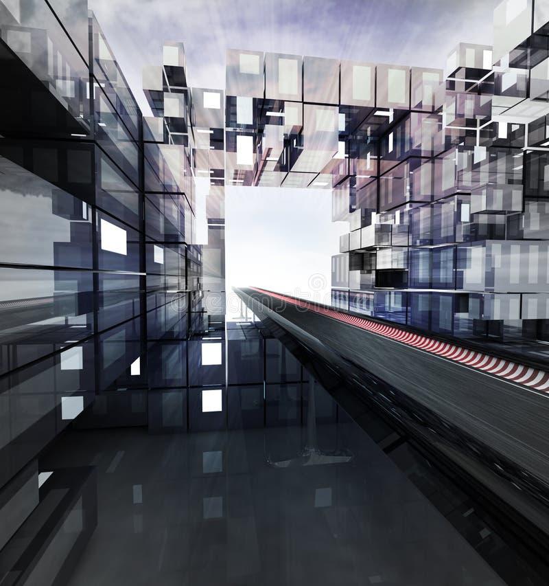 Хайвей в футуристическом городе дела с небом иллюстрация штока