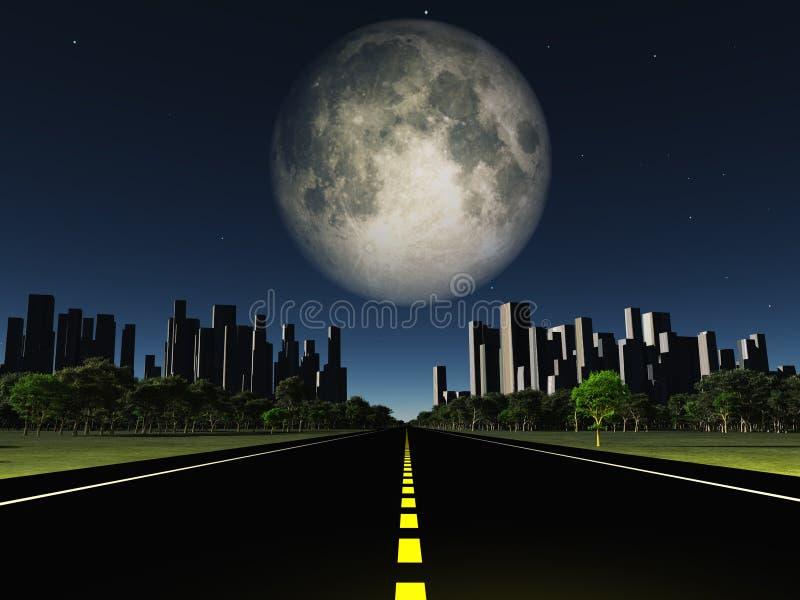 Хайвей к городу и большой луне иллюстрация вектора