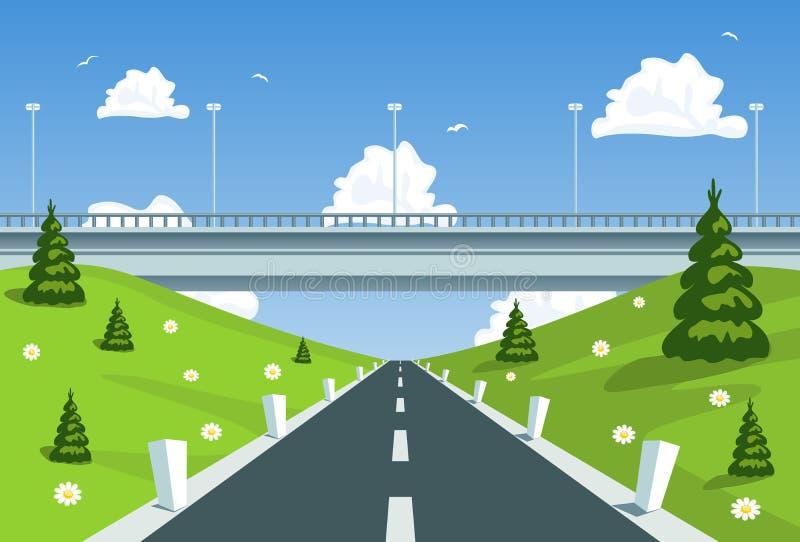 хайвей моста вниз иллюстрация штока